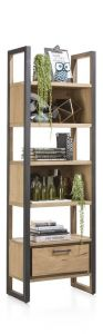 H&H - Metalo, Boekenkast 65 Cm - 1-lade + 5-niches