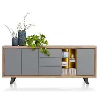 H&H - Box, Dressoir 210 Cm - 3-Deuren + 3-Laden + 5-Niches (+ LED)