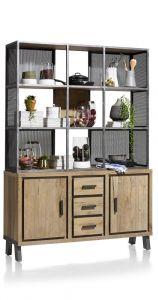 H&H - Vitoria, Dressoir 140 Cm - + Bovenkast 2-deuren + 3-laden + 9-niches