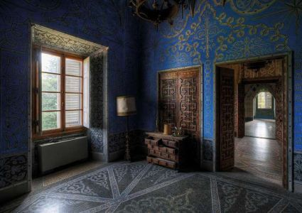 schilderij aluart blauwe kamer 80x120cm