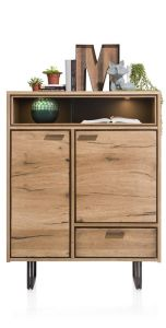 XOOON - Denmark, Highboard 110 Cm - 2-deuren + 1-lade + 2-niches (+led)