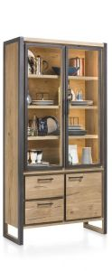 H&H - Metalo, Vitrine 2-glasdeuren + 1-deur + 2-laden (+ Led)