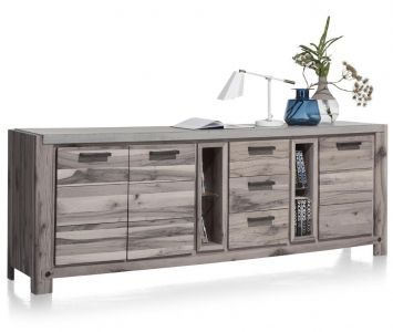 H&H - Maitre, Dressoir 240 Cm - 3-deuren + 3-laden + 2-niches (+ Led-spot)