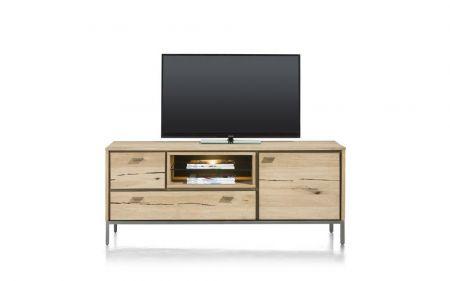 lowboard en tv-dressoir gemaakt van eikenfineer