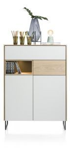 XOOON - Darwin, Highboard 100 Cm - 2-deuren + 2-laden + 1-niche (+ Led)