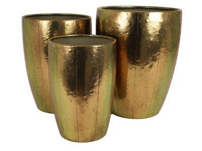 planter metal gold set of 3
