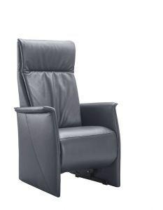 grijze fauteuil leer met hoge rug