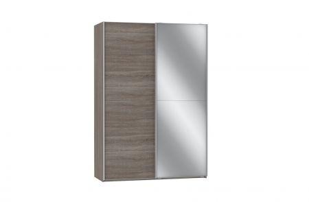 zweefdeurkast 150 cm breed hout en zilver