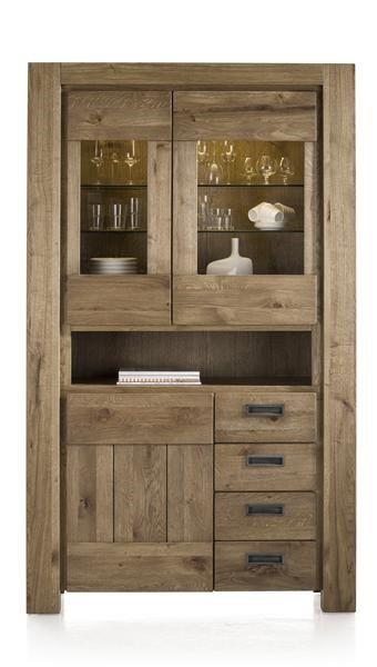 H&H - Santorini, Vitrine 2-glasdeuren + 1-deur + 3-laden + 1-niche (+ Led Strip)