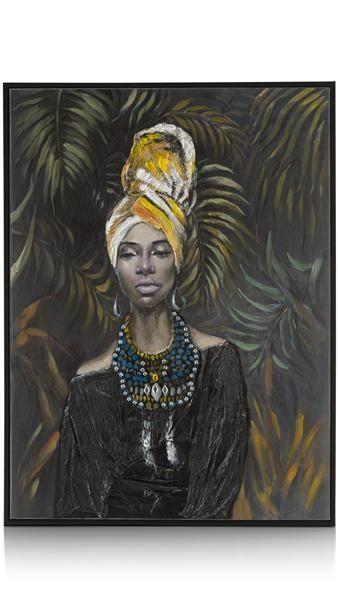Schilderij African Lady B (zwarte Jurk) - 60 X 80 Cm