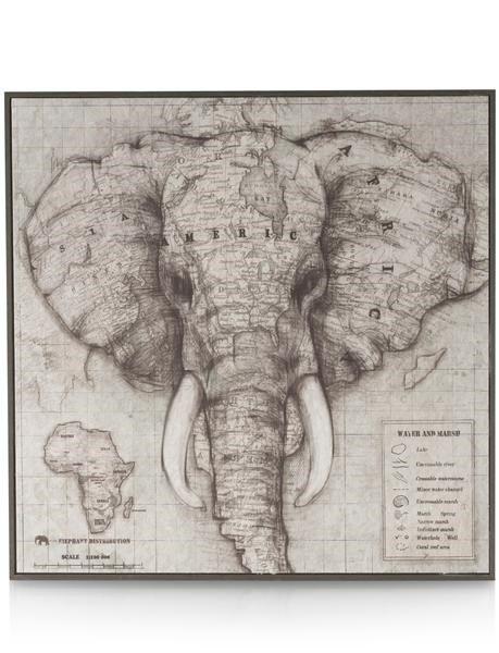 Schilderij Elephant World Map - 90 X 90 Cm