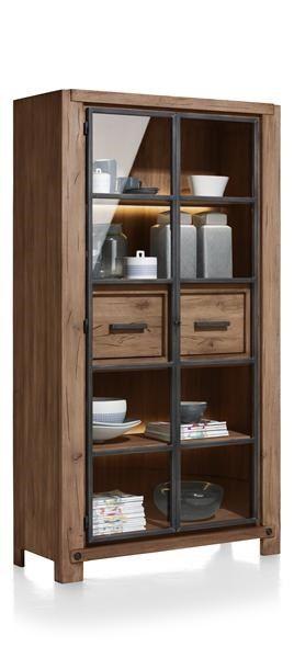 H&H - Maitre, Vitrine 110 Cm - 2-glasdeuren + 2-laden (+ 2x Led-strip)
