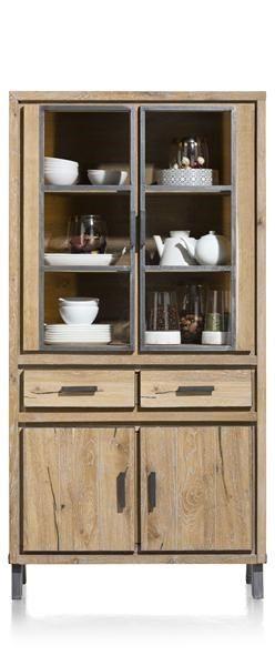 H&H - Vitoria, Vitrine 100 Cm - 2-glasdeuren + 2-deuren + 2-laden (+ Led)