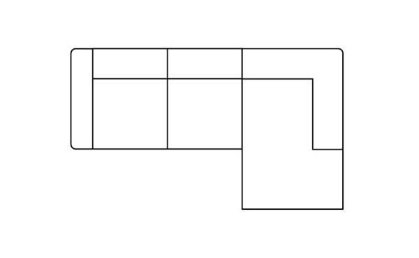 H&H - Zembla, 3-zits + Longchair Rechts